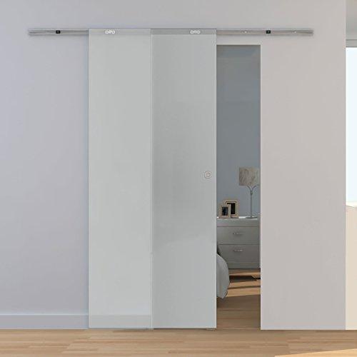 Glas-Schiebetür satiniert 880x2080mm Komplettset 8mm Glas-Tür Beschlags-Set offene Laufschiene + Griffmuschel inova Star