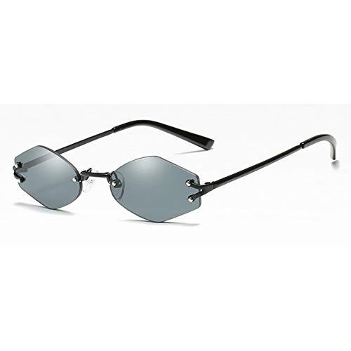 MINGMOU Winzige Ovale Sonnenbrille Männer Vintage Sechseckige Sonnenbrille Für Frauen Randlos Schwarz Gelb Uv400 Unisex