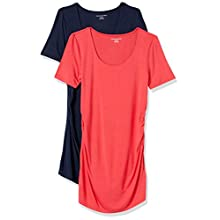 Amazon Essentials Maternity 2-pack Short-sleeve Rouched Scoopneck T-shirt, Hibisc/Navy, S