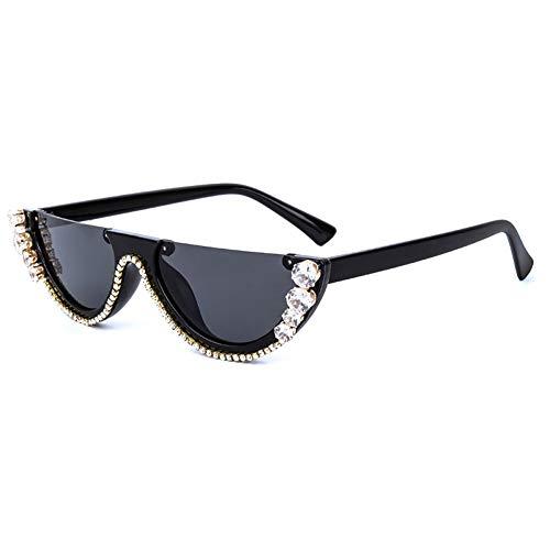 ZRTYJ Sonnenbrille Trendy Diamond Cat Eye Sonnenbrille Damen Luxury Crystal Metal Jewel Frame Brillen