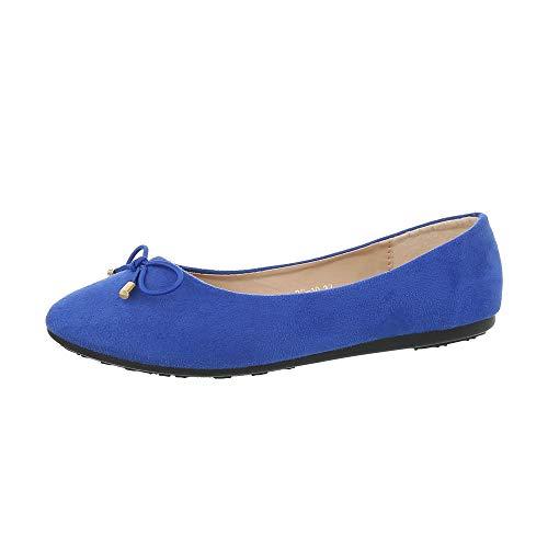 Ital-Design Damenschuhe Ballerinas Klassische Ballerinas Synthetik Blau Gr. 38