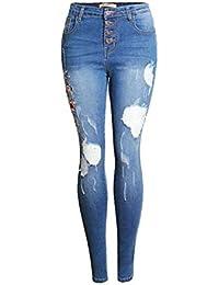 d2c0c502e27f5 Pantalon Décontracté Fleur De Broderie pour Les Détruit Bouton Multi Femmes  Pantalon Casual Dame en Denim avec…