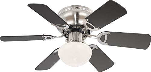 Ceiling fan with brushed nickel propellers Globe, with E27 lamp, beech wood / graphite