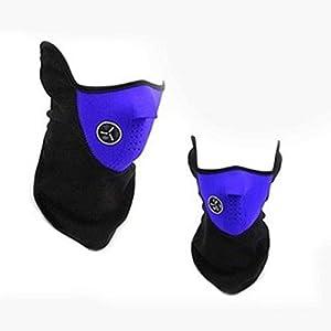 Delicacydex Anti-Staub-Verschmutzung Gesicht Mundmaske Ski Masken Hals Wurm Winter Kälte Halbe Gesichtsmaske für Fahrrad Skifahren Klettern – Blau