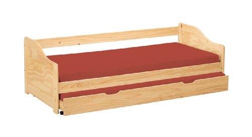 Inter Link Bett Bed Kinderbett Kids Bett Funktionsbett Einzelbett Bio Echt Holz Natur lackiert BxHxT: 209 x 66 x 97 cm -