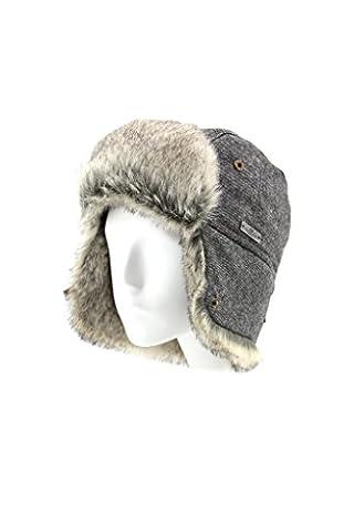Fourrure d'Hiver en Laine Mélange en tweed à chevrons en imitation fourrure Bomber aviateur Trapper Trooper Pilot Bonnet de ski - Gris - Medium
