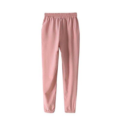 Pantalón Mujer de Ba Zha Hei, Pantalones de harén ultrafinos Suaves Ocasionales de Las Mujeres Pantalones de Cintura elásticos cómodos de la Cintura elástica Mujer Pantalón Talla Única Pants Trousers