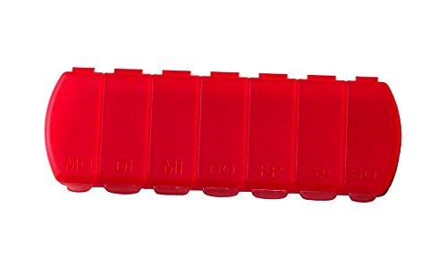 MaxBox Tablettenbox für 7 Tage, Tablettendose, Pillenbox mit getrennten Fächern - Rot (7 Pille Tag)