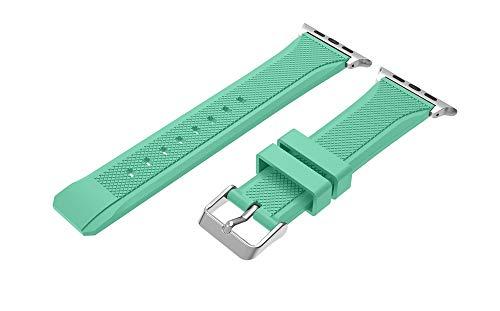 TianranRT Uhr Band Sport Soft Silikon Ersatz Uhr Band Strap für Apple Watch Series 4 (Minzgrün, 44MM) -