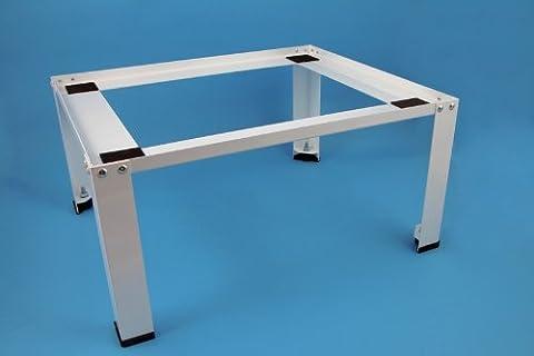 daniplus© Unterbausockel für Waschmaschine, Trockner weiß aus Stahl mit verstellbaren Füßen