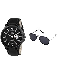 WM Gift Combo Set Of Sunglasses And Black Dial Black Leather Strap Day And Date Collection Series Analog Quartz...
