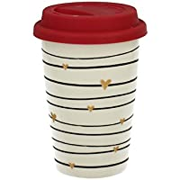 Kaffeebecher Coffee to go aus Porzellan mit Silikondeckel 'Gold Heart' 380 ml von DUO