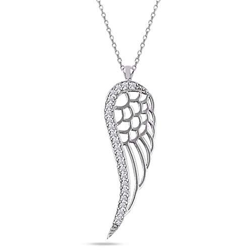 Engelsflügel Zirkonia Kette 925 Echt Silber Kinder Damen Mädchen Halskette Flügel (Silber)