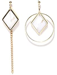 Thingalicious Asymmetrical Gold Plated Earrings for Women