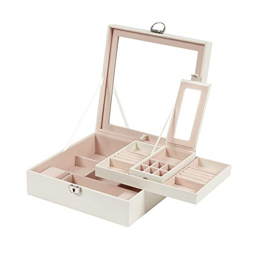 Meerveil Caja Joyero, Joyero Organizador Caja de Almacenamiento de Joyas de Dos Capas de la PU con Caja de joyería de Viaje Mini, Perfecto como Regalo para niñas, Fiesta, Blanco