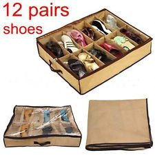Gooseberry Fabric Under Bed Shoe Organiser Box for 12 Pairs (Light Brown)