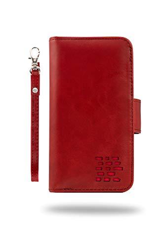 """""""Royale"""" Luxus Nappa Echt Ledertasche Hülle für iPhone 7: der EINZIG 3in1 Brieftasche Portemonnaie mit Bargeld Tasche, 2. Tasche und Kartenhalter. Trageschlaufe. Uralt Rot"""