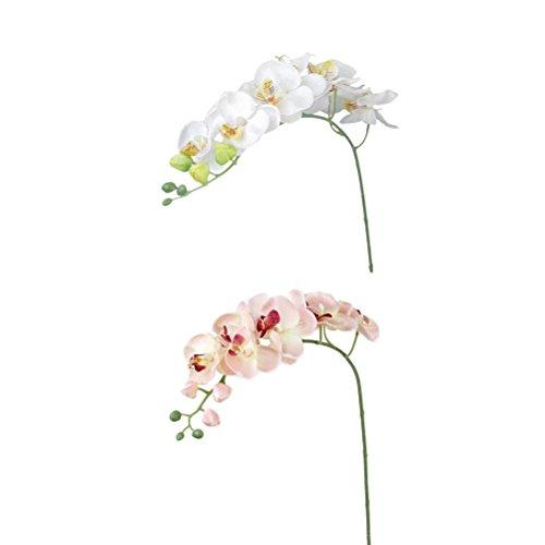 VORCOOL 2 stücke Künstliche Schmetterling Orchidee Blume Pflanze Dekoration (Rosa + Off-white)