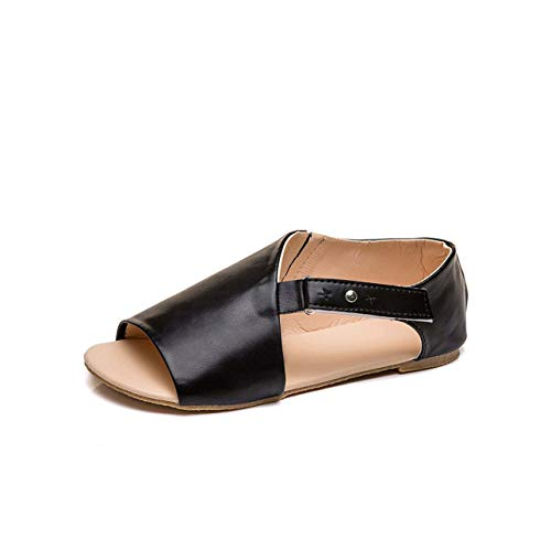 Women Sandals 2019 New Flats Sandals Women Shallow Mouth Casual Women Shoes Plus Size Outdoor Buckled Summer Shoes Woman Black 10.5 -