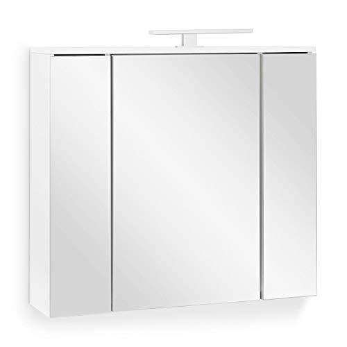Galdem Easy Spiegelschrank 80cm Badezimmerschrank Wandschrank Badmöbel 3 Spiegeltüren 6 Einlegeböden LED Beleuchtung mit Steckdose Weiß