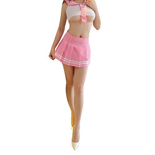 DishyKooker Frauen Mädchen Sexy Cosplay Kostüm Dessous Set Student Uniform Rollenspiel Vorspiel Sex - Studenten Kostüm