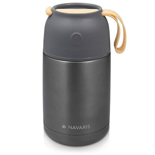 Navaris Contenitore Termico per Alimenti - Termos portavivande in Acciaio Inossidabile 650ml con Tazza Ø8,4cm e Pulsante Rilascio Aria - Senza BPA