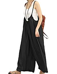 57cb070d874 Fasumava Women Jumpsuits Summer Casual Cotton Loose Solid Wide Leg Overalls