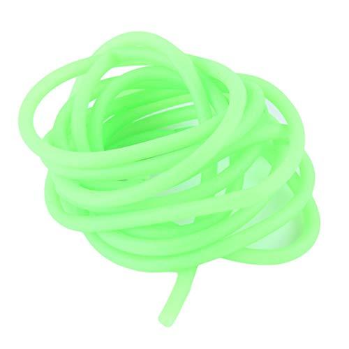 Idiytip weiche leuchtende Angelrute für Attact Fisch Locken elastische weiche Silikon Salzwasser Gummi Material Angelausrüstung, Fluoreszierende grün (außerhalb 5 innen 3,2)