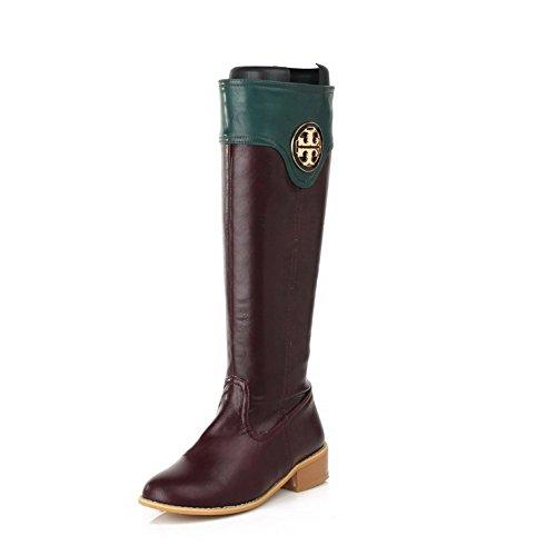 AgooLar Damen Gemischte Farbe Niedriger Absatz Rund Zehe Stiefel mit Metallisch Braun