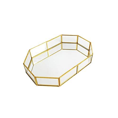 iHOMIKI Vintage Make-up Glasspeicher Platte Schmuck Organizer Spiegelglas Tray Handmade Startseite Dekorative Metall Tray Polygon Typ S -