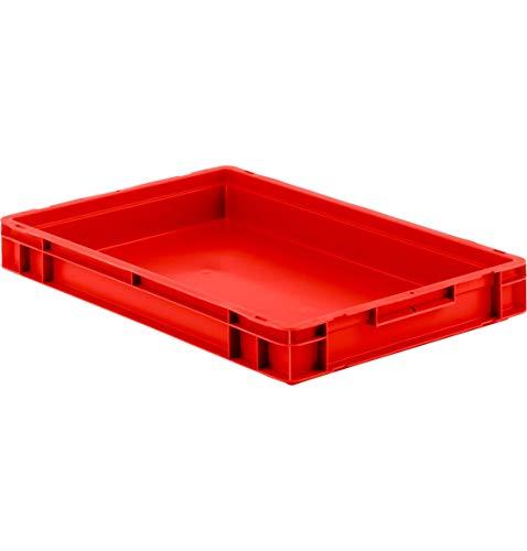 Eurokiste Kunststoffbox Transportbox offen ohne Deckel, 600x400 mm, 14,3 l, 20 Kg Tragkraft, Made in Germany, Rot ()