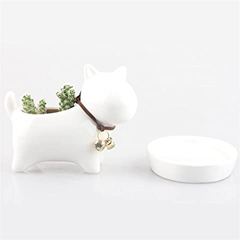 Little Dog White Ceramic Succulent Plant Flower Pot Flowerpot Planter Nursery Pots Ivory White with Tray Neck with Bell Simple Modern Dog Design Weaving Tail Mini 12cm X 7.5cm X