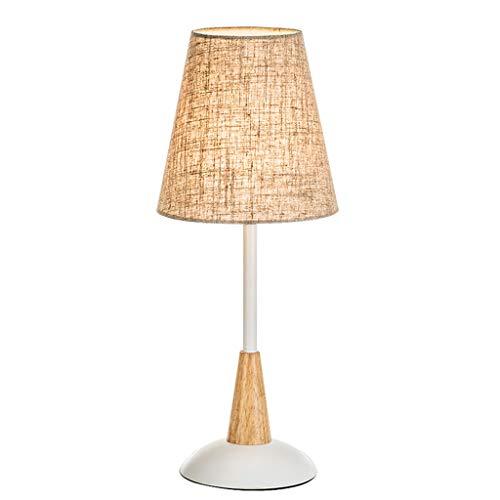 ZHAO YELONG Leinen Lampenschirm Nachttischlampe Button Control Nicht Dimmbare Tischlampe - Schlafzimmer Wohnzimmer Büro Dekorative Lichter -
