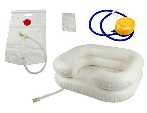 OrtoPrime Haarwaschbecken für Bettlägrige - Haarewaschen Waschbecken - Haare waschen im Bett - Friseur waschbecken Mobil - Mit Inflator - Aufblasbare Badewanne für Bett und Stuhl