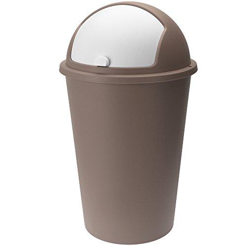 Deuba Abfalleimer 50L mit Schiebedeckel 68cm x 40cm braun - Mülleimer Papierkorb Abfallbehälter Restmüll Müllbehälter Abfalleimer
