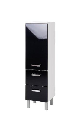 Held Möbel 220.3062 Denver Midischrank 1-türig, 2 Auszüge, 2 Einlegeböden, 35 x 114 x 35 cm, hochglanz-schwarz / weiß