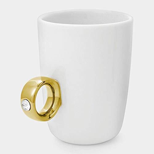 Tobbrt 1piece wedding engagement 2 carati tazza di caffè tazza di san valentino in ceramica tazza di caffè amante coppia regalo diamante d'oro d'argento anello mug