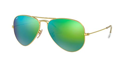 Ray-Ban RB3025 112/19 58 mm Blue Green Mirror Aviator Sonnenbrille, Bundle-2 Stück