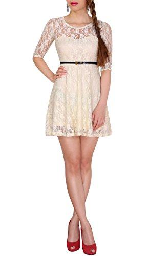 SODACODA 3/4-Arm Damen Prinzessin süßes Spitzenkleid Partykleid Ballkleid Minikleid (Cremefarbe,...