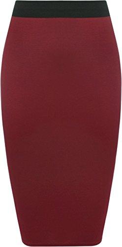 WearAll - Damen Übergröße Einfarbig Anliegend Stretch Bleistiftrock Midi Rock - Wein - 52-54