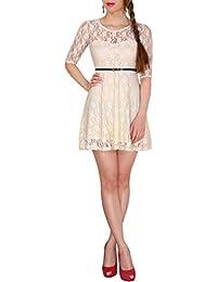 SODACODA Robe 3/4-bras dames princesse dentelle mignon robe de soirée de bal d'étudiants mini robe - Toutes les couleurs et tailles (SL)