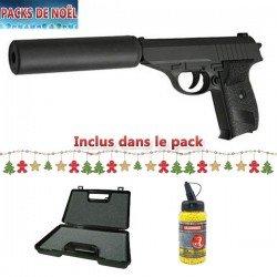 Galaxy Paquete de Navidad con pistola tipo Sig Sauer P230 para airsoft, con silenciador, totalmente de metal, con muelle, recambio manual, maletín y balines de regalo (0,4 J)