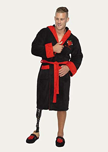 MMLM Mr Strong Mens Black and Red Robe with Hood - Red Soft Robe