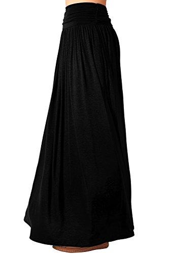 DJT - Gonna lunga velata plissettata elastico maxi elegante - Donna Nero X-Large