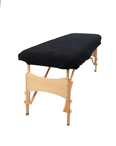 Aztex Classique Housse pour divan de massage, noir, sans trou pour le visage, tissu élastique par TowelsRus