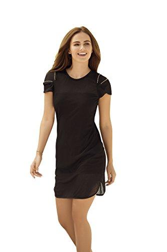 mapalé mar4994blkxl Sommer-Kleid kurz schwarz Netzstoff mit Futter/Verschluss Eclaire auf Schultern Größe XL -