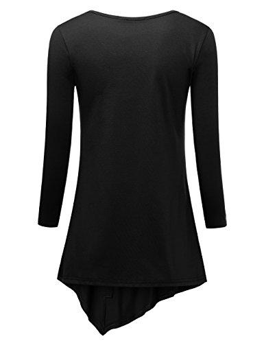 BaiShengGT Femme T-Shirt 3/4 Manches Longues Tunique Blouse Casual Tops avec Boutons Noir
