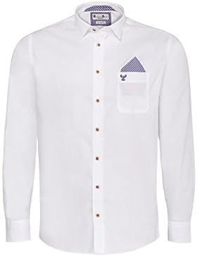 Trachtenhemd Body Fit Flori zweifarbig in Weiß und Blau von Gweih & Silk