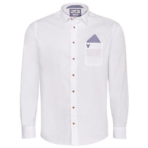 Gweih und Silk Trachtenhemd Body Fit flori Zweifarbig in Weiß und Blau, Größe:XL, Farbe:Weiß