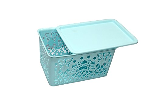 Premium Quality Big size plastic Rectangular Tapered hollow basket mesh fashion Storage box / organizer / bin / Basket for Kitchen, Utility, Living room, kids room, Bedroom or Bathroom or office basket storage (Multicolor, Color sent at random)Small (in cm) : 25 * 17.5 * 14 { LENGTH * BREADTH * HEIGHT }